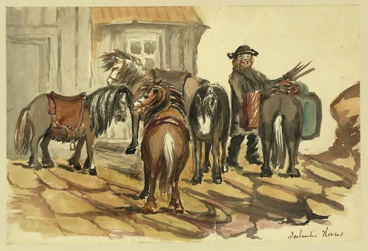 Title:Icelandic horsesCreator(s):Taylor, Bayard, 1825-1878, artistDate Created/Published:[1862]Medium:1 drawing : ink brush and watercolor over graphite underdrawing.Summary:Drawing shows a man in Iceland tending to a short, heavy long-haired horse while others stand nearby outside on cobbled stones. Taylor visited Iceland in 1862, perhaps en route to Russia.