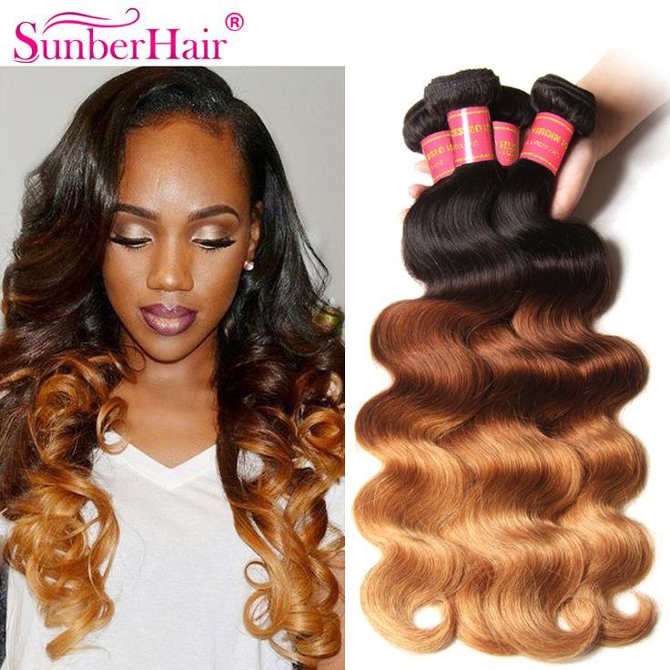 Ombre Blonde Brazilian Hair Ombre Brazilian Virgin Body Wavy Hair 3Pcs Blonde And Black Virgin Hair Sunber Hair Free Shipping
