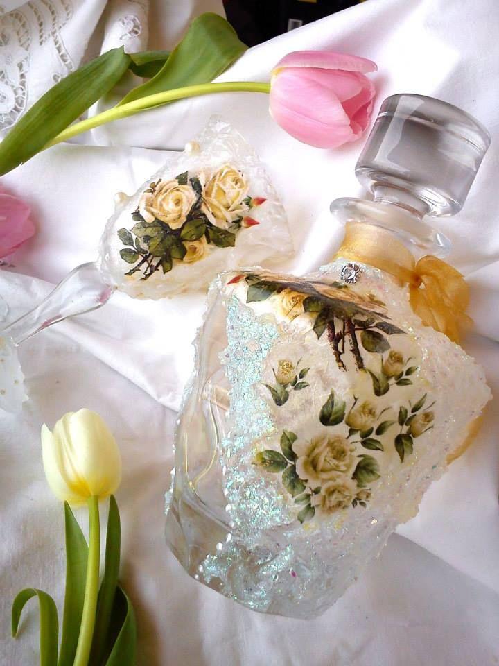 Wedding set-bottle and glass https://www.facebook.com/xeirostechnimata