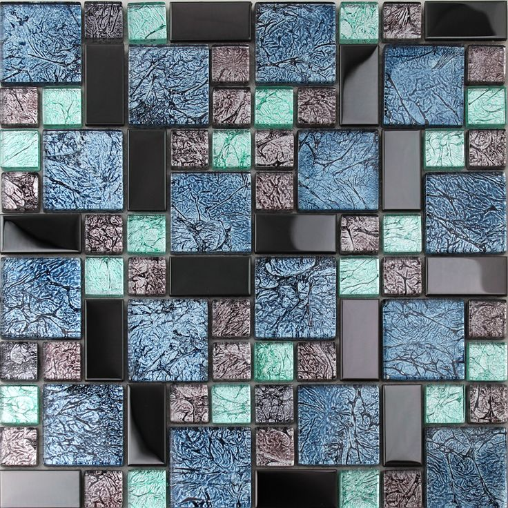 Black stainless steel backsplash metal glass mosaic tile bathroom shower  wall decor kitchen backsplashes MGT785 20 best Metal Glass Tiles images on Pinterest Mosaic art