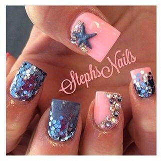 Summer little mermaid nails!!