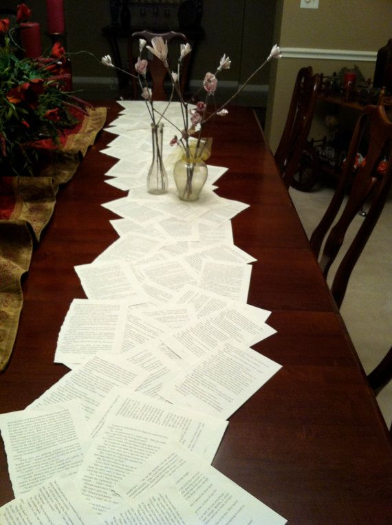 Book page table runner by PAPERenVOGUE on Etsy, $20.00