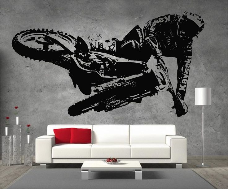 Details about motocross kawasaki motorbike vinyl sticker for Dirt bike bedroom ideas