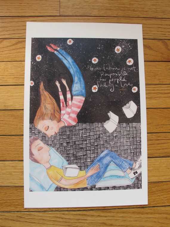 flying girl jumps to kiss a reading lover  by VioletredStudio
