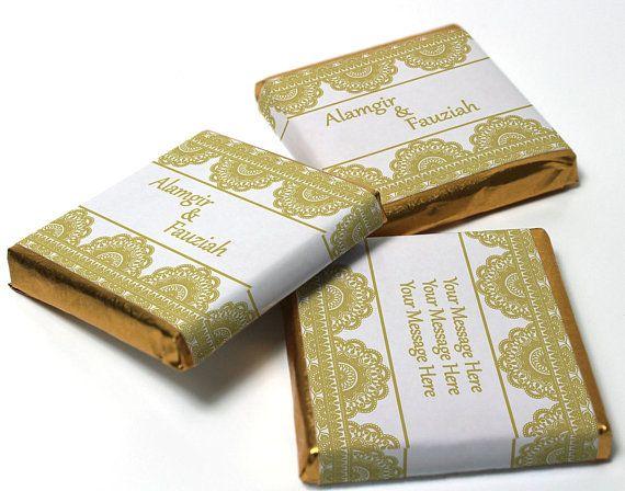 Personalised Chocolate Neapolitan squares Mehndi  Gold Banner