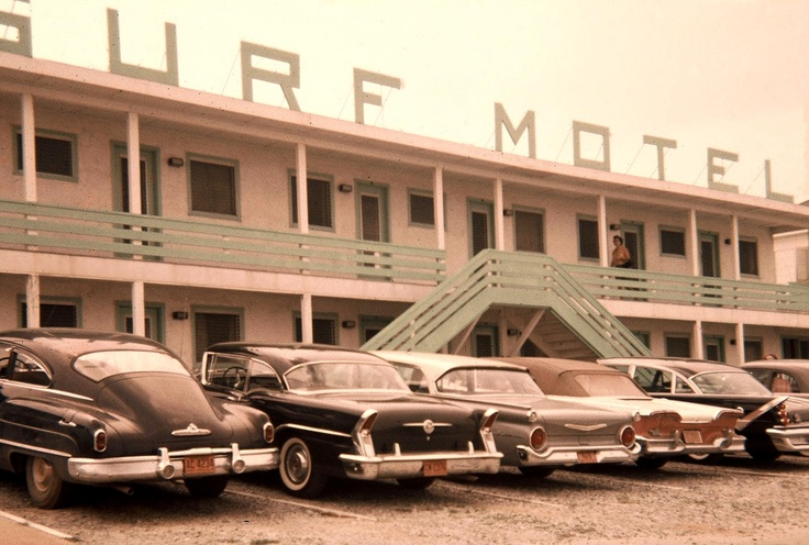 Circa 1958 vacation photo my dad took at the Surf Motel...the woman upstairs is my mom. Love the cars!