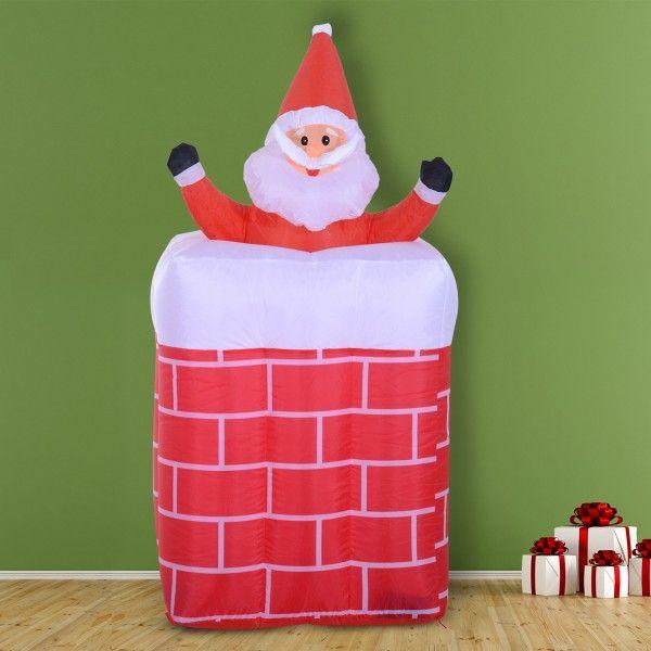 Bonito Papa Noel hinchable para decorar tu hogar estas Navidades. Incluye luces LED integradas. Se hincha rápidamente con dos infladores, uno de ellos con temporizador para que el Papa Noel suba y baje automáticamente de le chimenea.  Sus medidas son: 73x73x180cm (Largo x Ancho x Alto). Puedes comprarlo online en https://www.aosom.es/hogar/homcom-papa-noel-hinchable-multicolor-tela-73x73x180cm.html con envíos gratis a España y Portugal en 24h/48h.