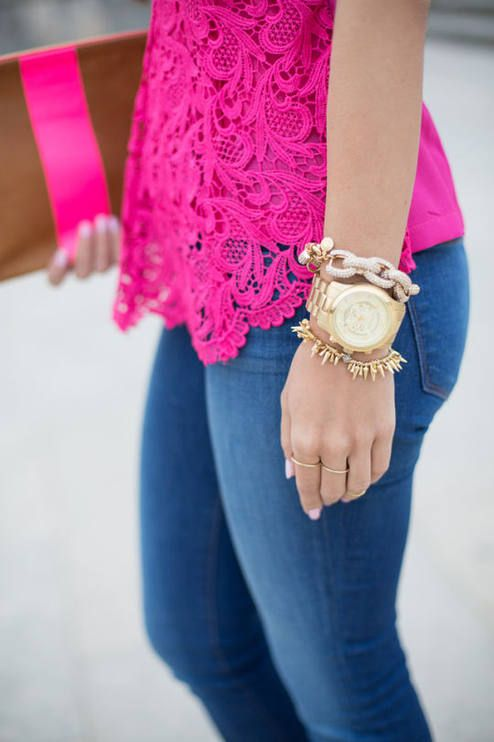LOVE this neon pink color, especially with jeans, and gold wrist --  Neon Pink Lace Top, Jeans, Gold Accessories