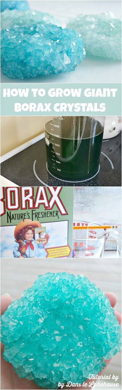 How to grow giant borax crystals. This seems complicated and might not even be possible because of the need for a stove...