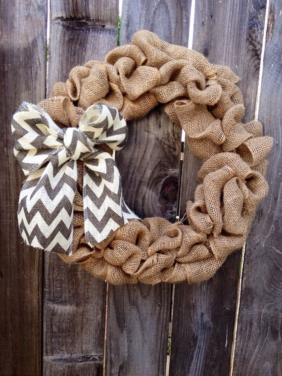 Natural Burlap Wreath with Chevron Bow by Burmae on Etsy