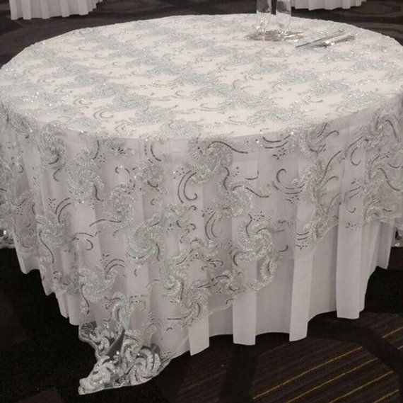 Fancy Overlay Decoration Or Party Tablecloth 90 X 90 Inches Square