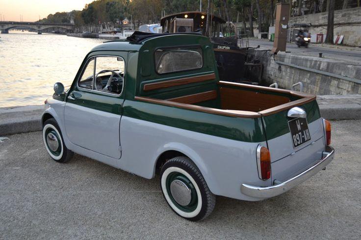 FIAT 500 Pick up.....very cute..i have never seen one like this..  Plus de découvertes sur Le Blog des Tendances.fr #tendance #voiture #bateau #blogueur
