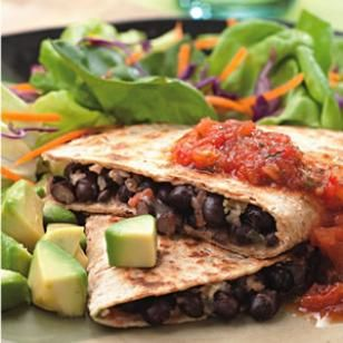 Vegan Black Bean Quesadillas Add whatever you want...green onions, red peppers, jalapenos, avocado, lime, etc.