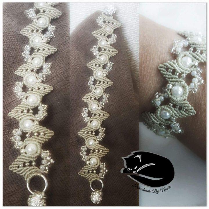 Bracciale in filato C-lon con perline, toho e rocailles, chiusura magnete con strass (Schema di Liliana Pozzi)