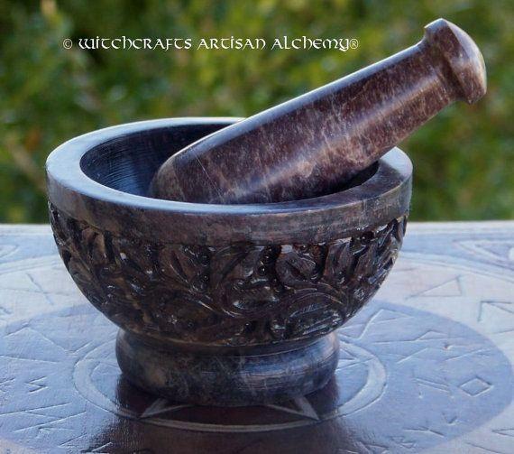 JARDIN de fleurs sculptées en pierre ollaire mortier & Pilon - artisanat herbe épice encens meulage Preparation Tool, cuisine Witchery, sorcellerie