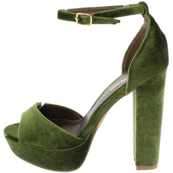 FERN2 OLIVE WOMEN'S FASHION HEELS ONLY $10.88 (34 BRL) ❤ liked on Polyvore featuring shoes, flat pump shoes, olive green shoes, flat shoes, wedge shoes and army green shoes