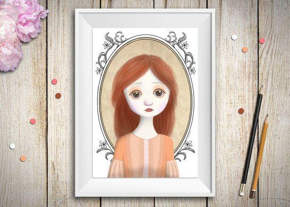 Questo è un ritratto di ragazza dai lineamenti delicati e giovanili realizzato digitalmente. Riprende lo stile delle bambole vintage: viso color