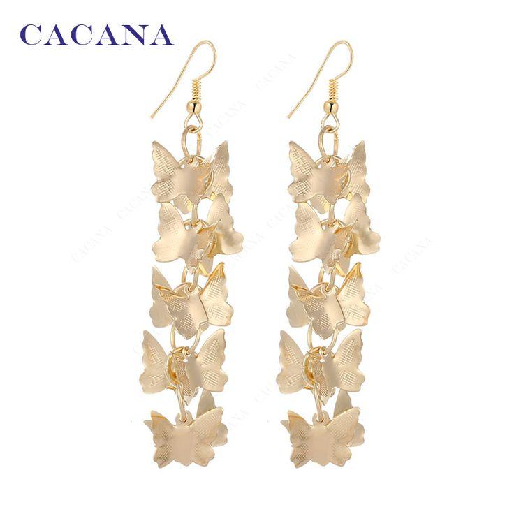 CACANA Gold Plated Dangle Long Earrings For Women Flying Butterfliers Fashion Bijouterie Hot Sale No A149 A150