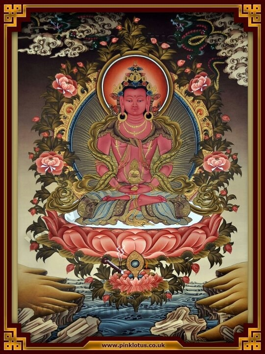 Amitayusi (aspect of  Amitabha):. Amitābha is the principal buddha in the Pure Land sect, a branch of Buddhism practiced mainly in East Asia, while in Vajrayana Amitābha is known for his longevity attribute and the aggregate of distinguishing (recognition) and the deep awareness of individualities.  Amitābha is said to possesses infinite merits resulting from good deeds over countless past lives as a bodhisattva named Dharmakāra. (Wikipedia)