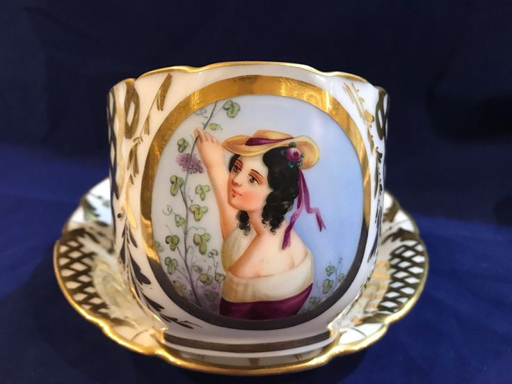 """Rare to find gorgeous antique cup and saucer was made by Dresden, German Porcelain. The saucer measures 6.85 X 1.25"""". Excellent antique condition, with no chips, crack or repairs. The cup measures 3.25"""" Tall X 5"""" in wide with handle. 