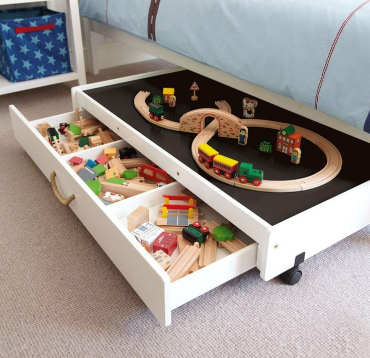 Underbed Play Table with Drawers - Great idea to store everything away