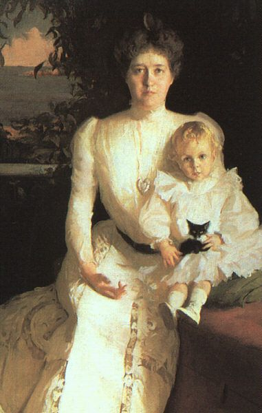 Mrs. Benjamin Thaw and her Son by Frank Weston Benson, Oil on canvas