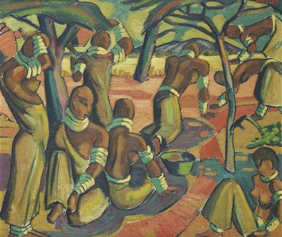 Alexis Preller (1911-1975) - Native Study (Mapogges)