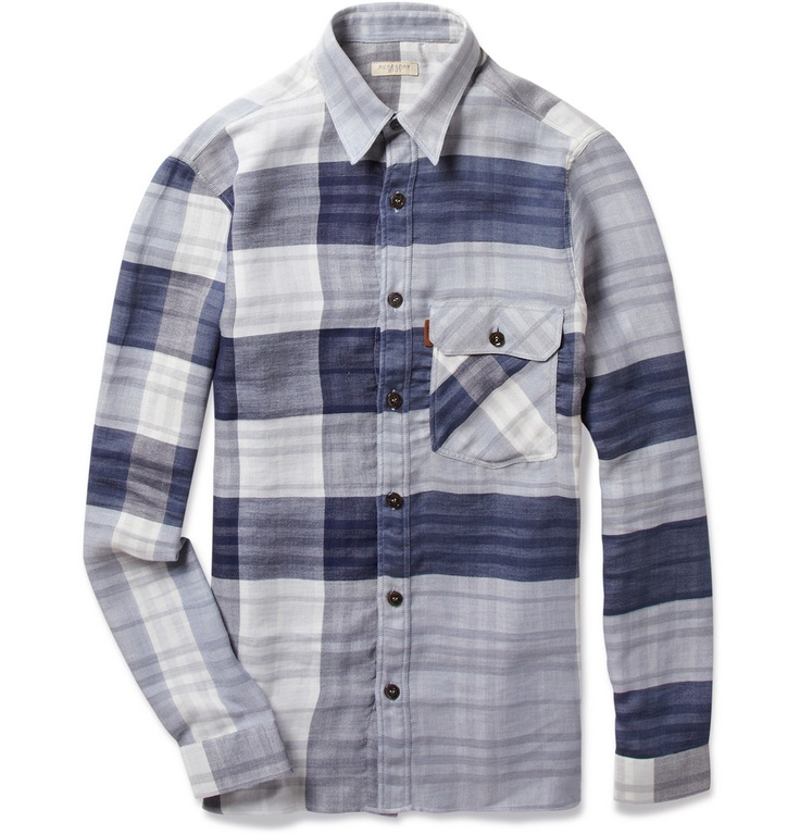 BURBERRY BRIT    DOUBLE-FACED PLAID WASHED-COTTON SHIRT