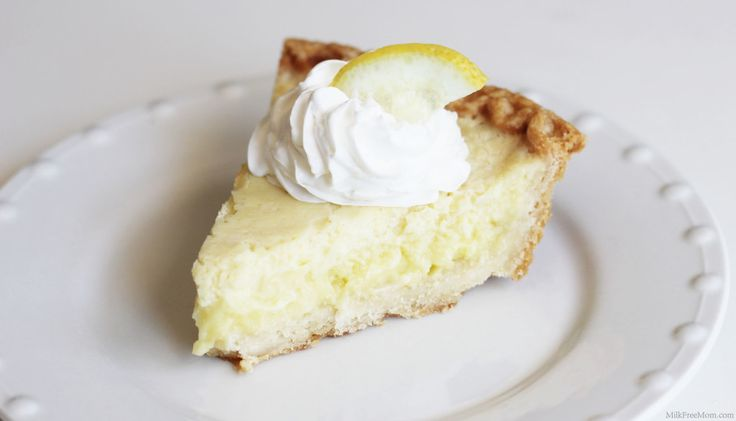 Dairy-Free Lemon Custard Pie - only 5 ingredients and under 300 calories per serving