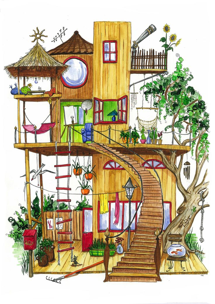 Funny house, watercolor ©lisablom