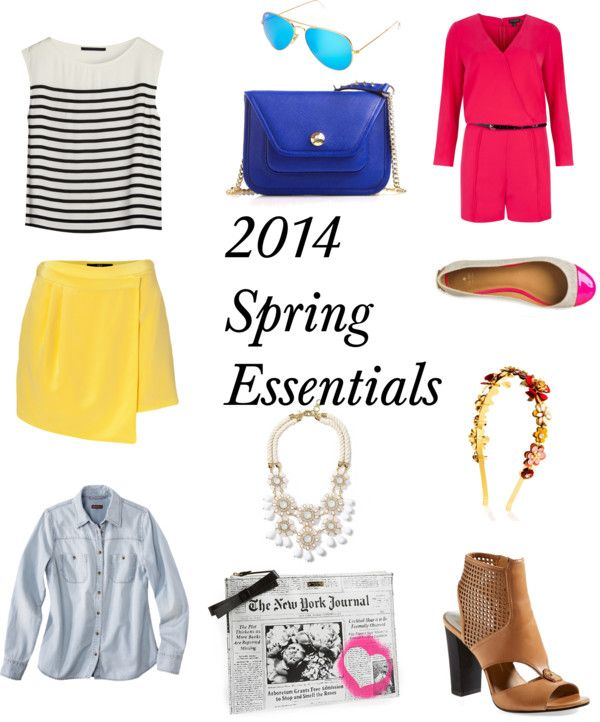 2014 Spring Essentials by kristen-diperno featuring a black tankLong sleeve top / Bruuns Bazaar black tank / TIBI short golf skirt / Ted Baker romper, $245 / Dolce Vita leather sandals / Kate Spade bow purse / Henri Bendel mini purse / Banana republic necklace / Henri Bendel sparkly headband / Ray-Ban ray ban sunglasses