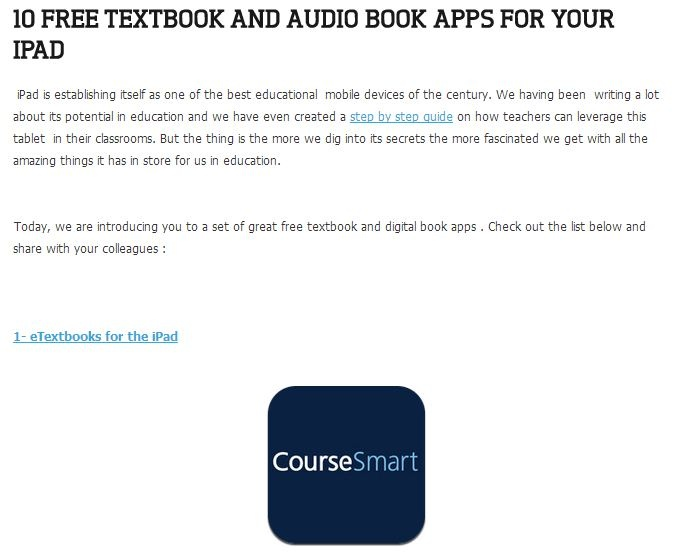 Textbook and Audio Books Apps for iPad (Educational Technology and Mobile Learning Link-Site)