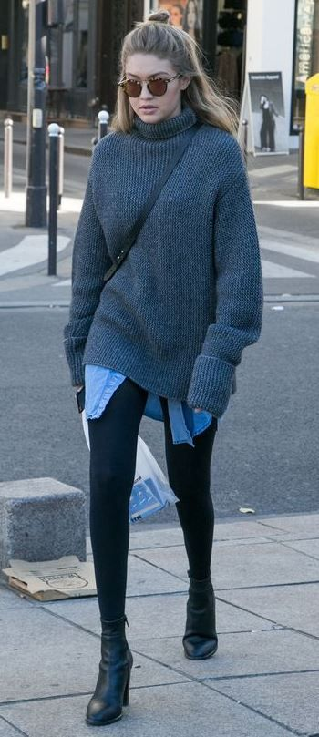 winter street style perfection / grey oversized sweater + denim shirt + leggings + boots