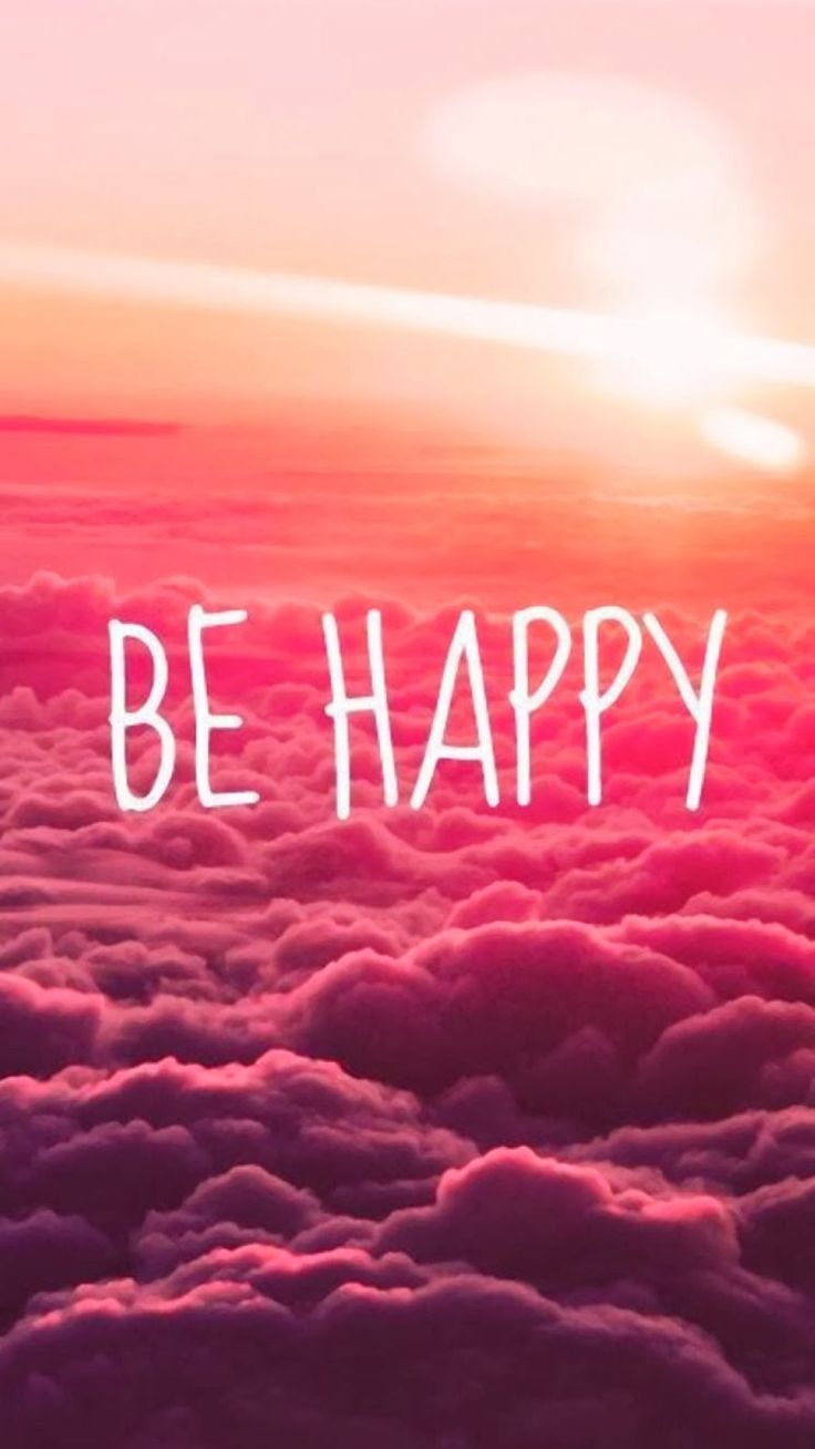 Be Happy Puffy Clouds iPhone 6 wallpaper