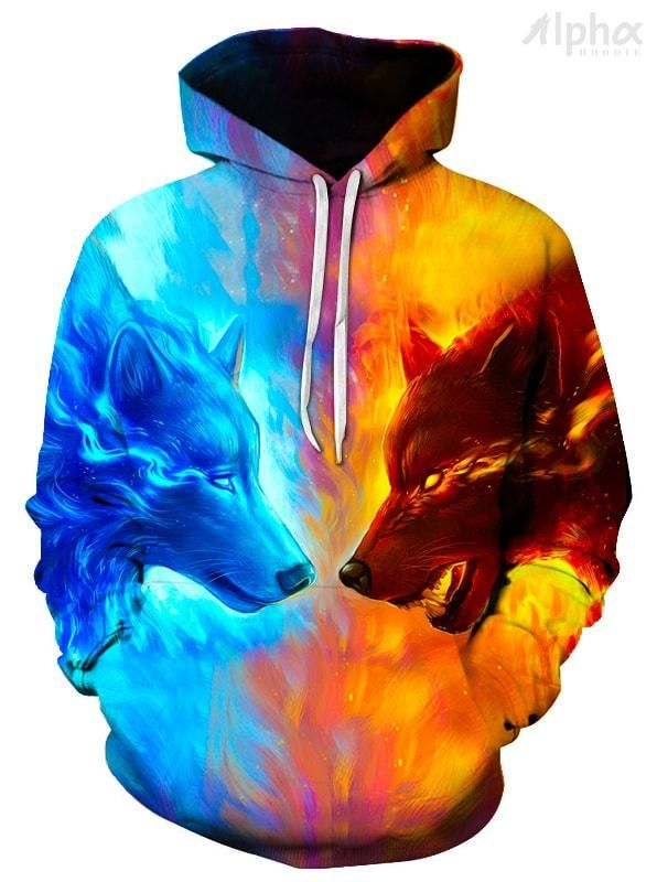 05dccd4c0 Ice & Fire Wolf Unisex Hoodie - Shop 3D Graphic All Over Print Hoodies for  Men and Women. Our Cool Hoodies Include Space Hoodies, Galaxy Hoodies, ...