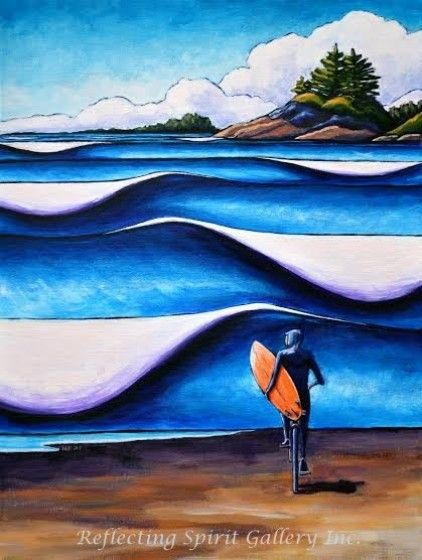 "Becky Luth, Surf Tofino, Original Acrylic Painting On Canvas, 18"" x 24"""