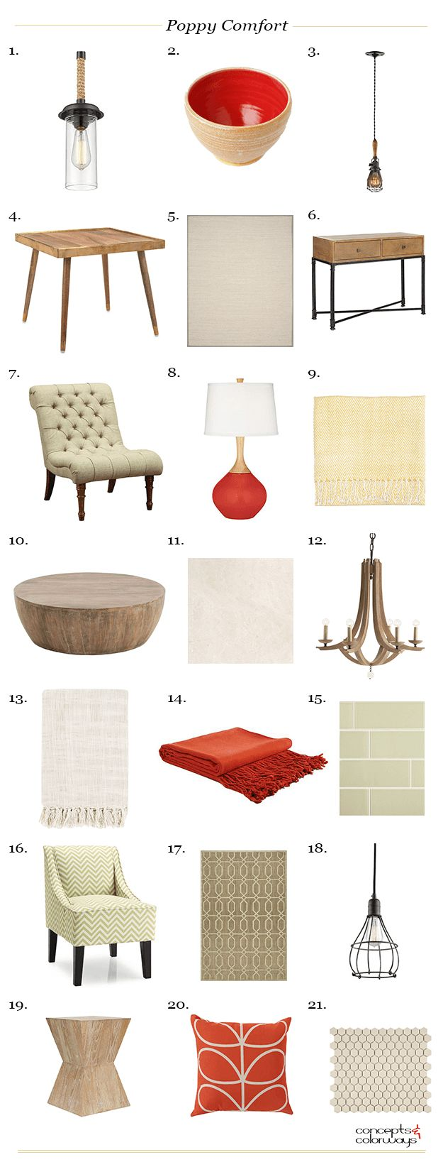 poppy red and khaki interior product roundup