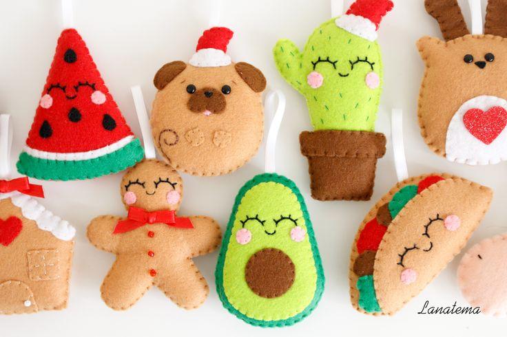 Handmade Christmas felt ornament.  Avocado, pizza, tacos, cactus..