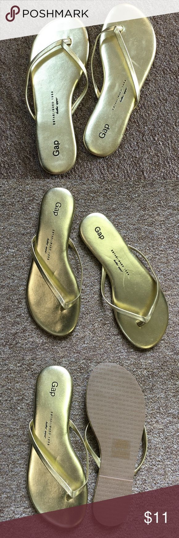 """GAP Gold Leather Flip Flops Sandals Size 7 This flip flop sandal from GAP is shimmery gold beautiful! Looks like they may have been bumped around a little in someone's closet, but otherwise new looking and unworn (:   Size on shoe says Euro 38 / US 7, fits more like 7.5-8.  Measures 9 5/8"""" at longest, heel to toe. GAP Shoes Sandals"""