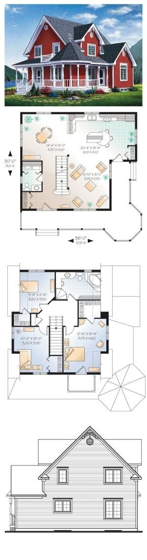 Victorian House Plan 65377   Total Living Area: 1798 sq. ft., 3 bedrooms & 1.5 bathrooms. #houseplan #victorianstyle by Josy13