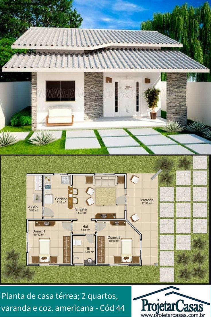 Projeto de casa térrea, podendo ser construído em terreno