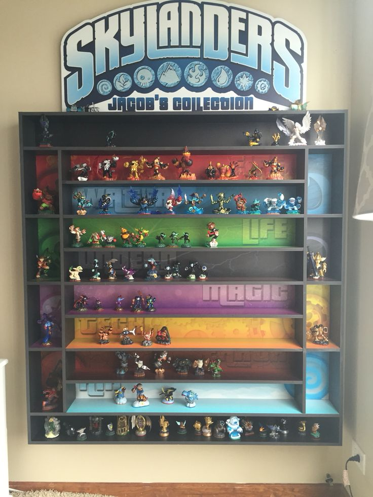 Awesome Skylander shelf my husband made for our sone. So much easier to organize the guys!