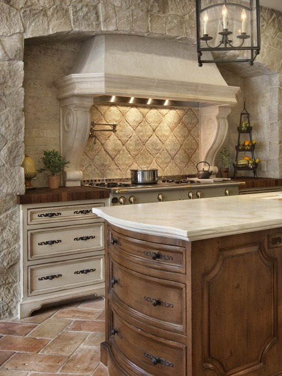Traditional Kitchen By Gdc Construction Love The Stonework 2 Diffe Cabinet Colors And Wood Counter Cook Top Is Great