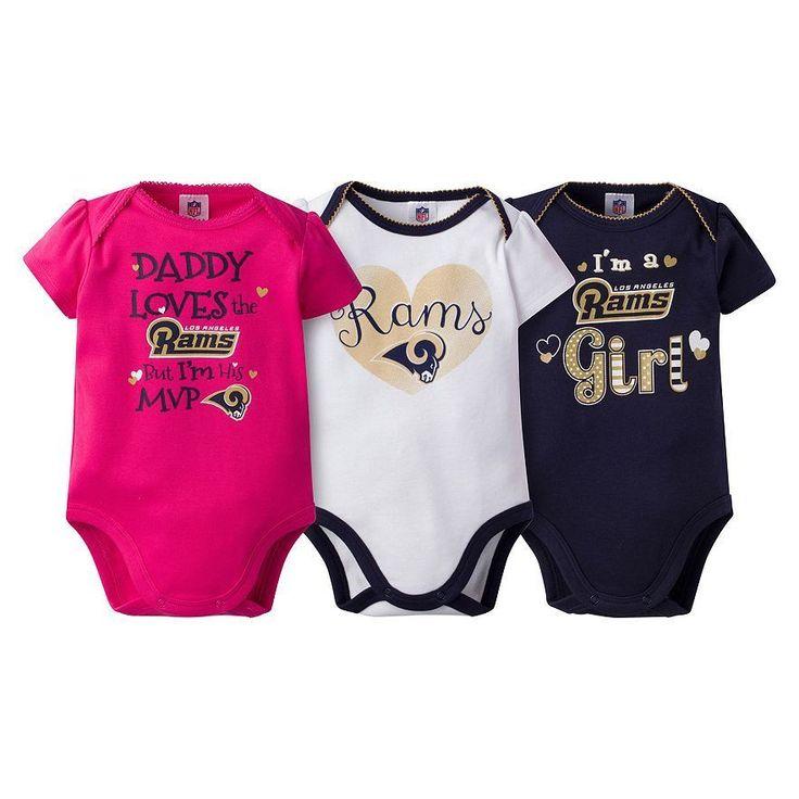 NFL Los Angeles Rams INFANT Size 12 Months Bodysuit Set (Set of 3) Girls #NFL
