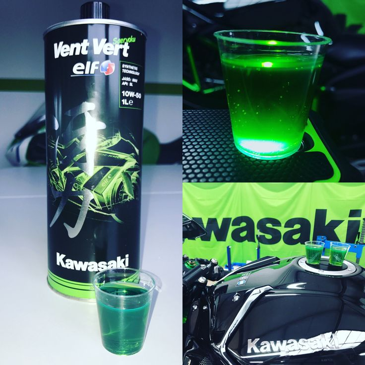 Das Öl der Champions! Grünes Kawasaki-Öl Vent Vert Synthetik 10W50! Von Kawasaki für alle Kawasaki-Modelle ab 2007 empfohlen.  Ein Kawasaki-Rider fährt auch im Motor GRÜN! Exklusiv bei Bike Tech Lohmann deinem Kawasaki-Servicepartner! #kawasaki #öl #green #grün #öl #ventvert #10w50