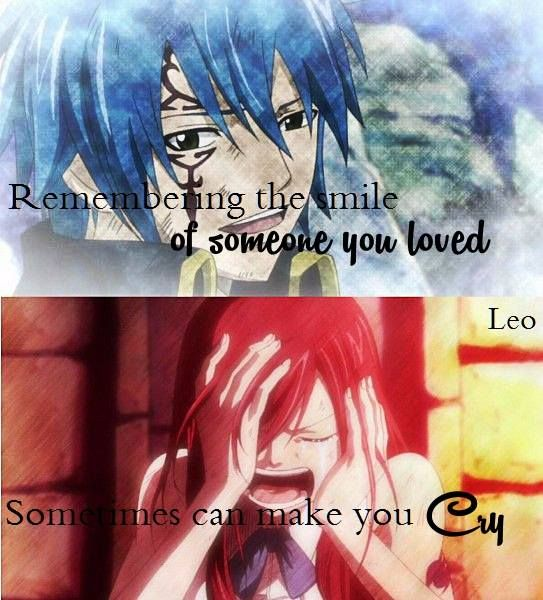 Remembering the smile from someone you love can make you cry #fairy tail #anime