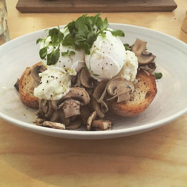 Muhara Cafe Hawthorn - Our wild mushroom bruschetta w. Persian feta, lemon thyme & poachies