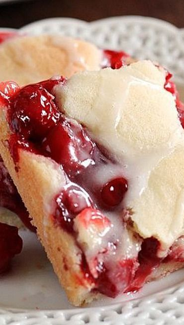 Cherry Dream Bars... These are absolutely AMAZING! Plus it only requires about 10 minutes of prep time with ingredients you probably already have on hand!