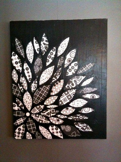 DIY Canvas Flower With Scrapbook Paper