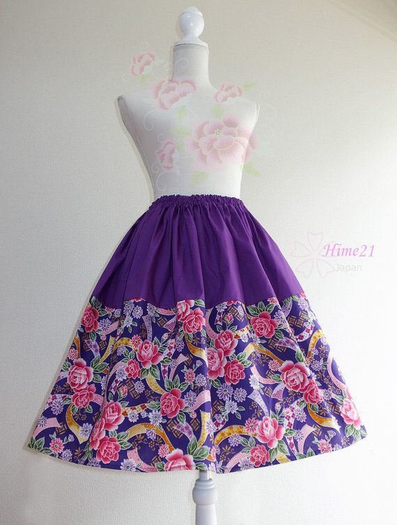 Japanese pattern cotton Skirt Purple Rose and Purple  by Hime21, ¥5500